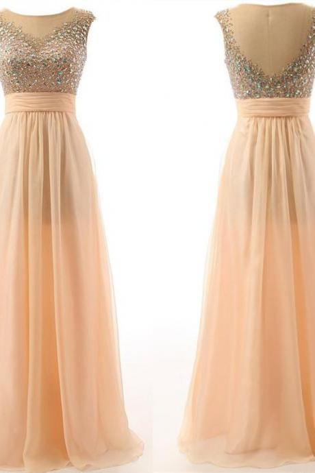 Sexy Champagne Women's Illusion Bead Chiffon Long Formal Evening Party Prom Gown,Champagne Dress CJ154